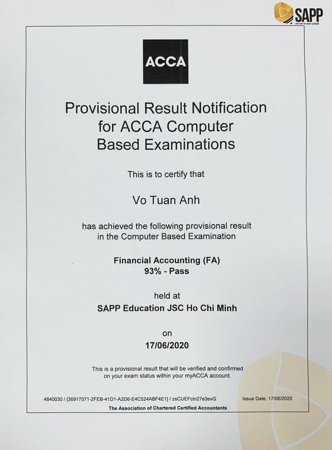 Học viên SAPP Academy đỗ môn FA/F3 ACCA