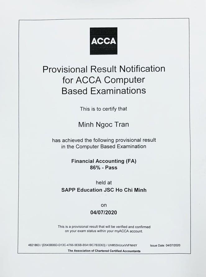 Trần Minh Ngọc - học viên SAPP Academy đạt điểm cao FA/F3 ACCA