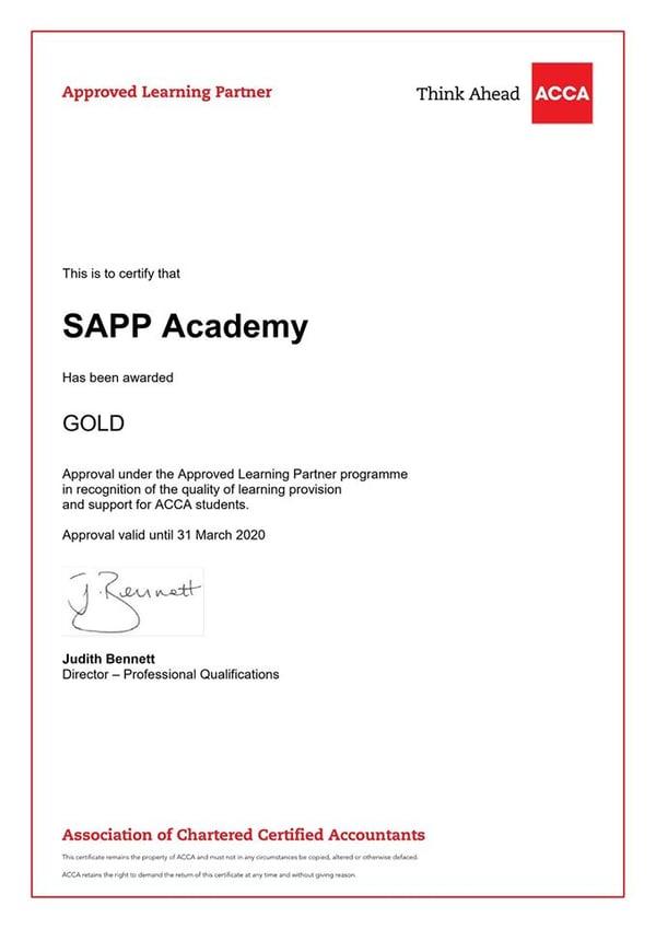 SAPP Academy đối tác đào tạo chuẩn Vàng ACCA