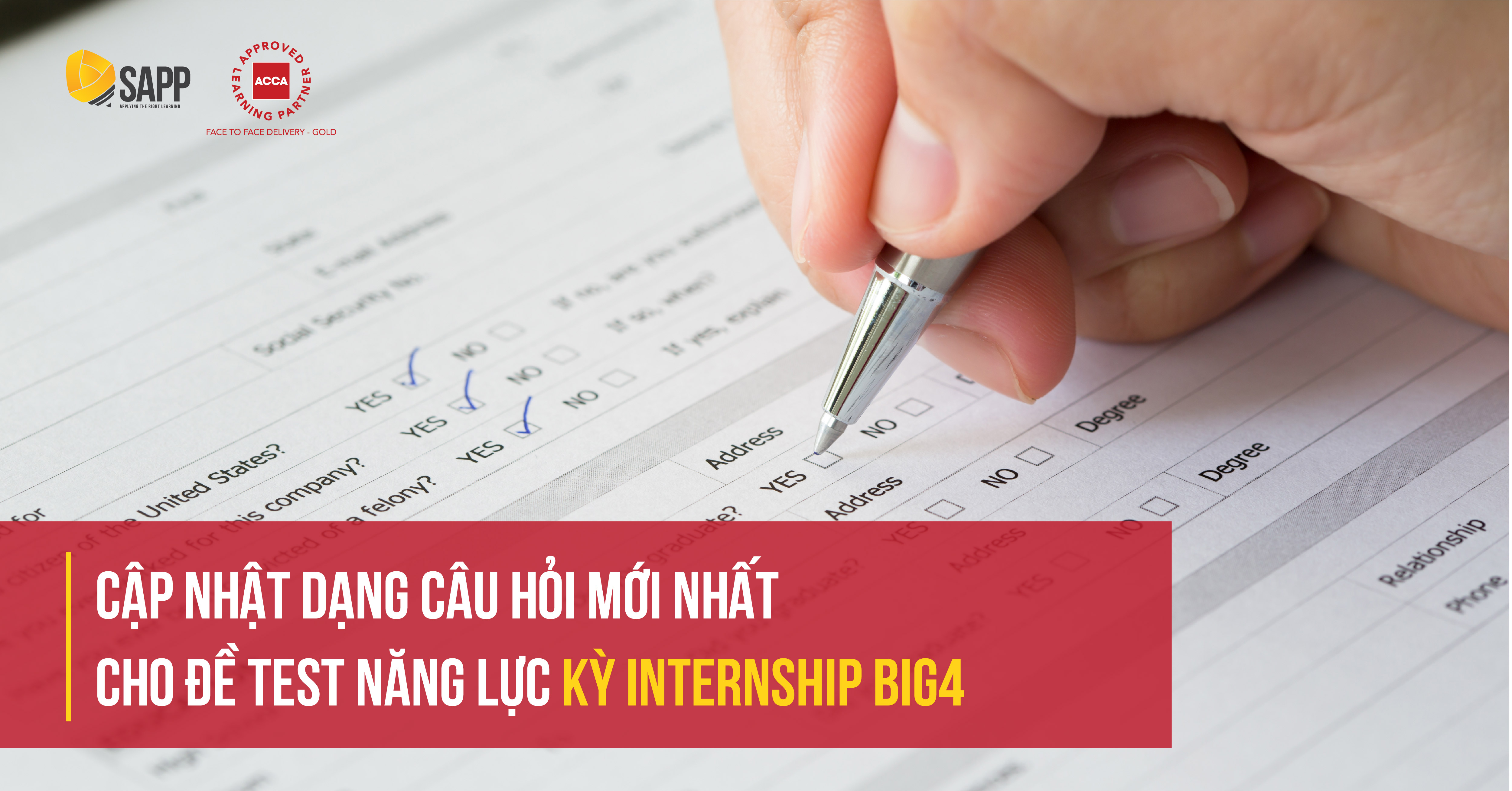 Cập nhật dạng câu hỏi mới nhất cho đề test năng lực kỳ Internship BIG4