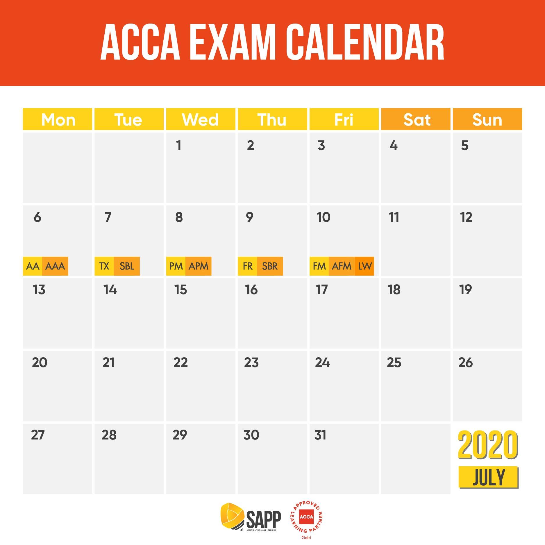 Lịch thi ACCA tháng 6 năm 2020