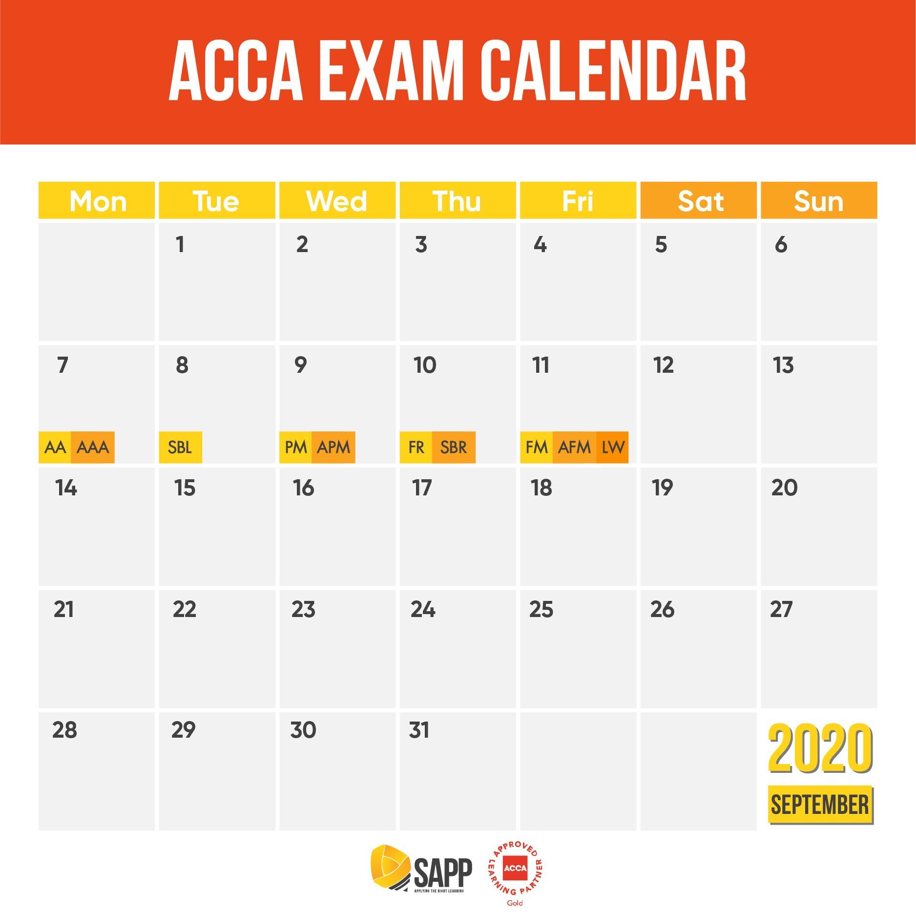 Lịch thi ACCA tháng 9 năm 2020